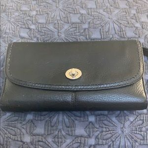 COACH black leather wallet w/ checkbook cover